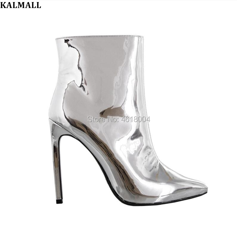 840b3005e8 Ankle Kalmall Runway Dedo Mulheres Apontado Sapatos Pé Boots Tamanho Week  De Sapatinho Do Botas Ouro Salto Fashion Prata Alto Zip Espelho Estiletes  KlcFJ1