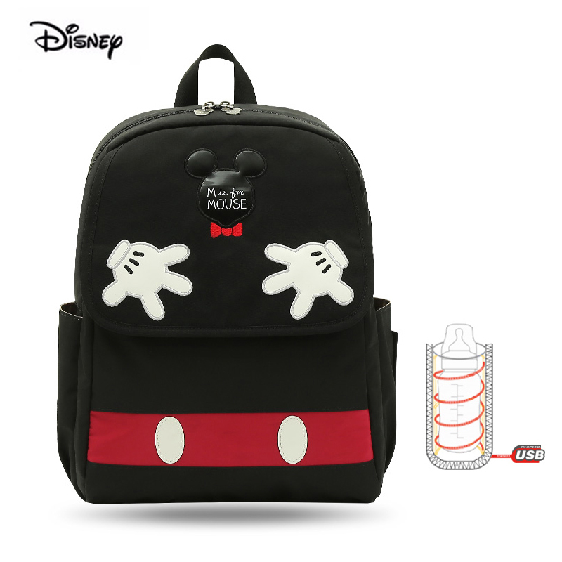 Disney Minne Mickey Maternity Bag Pink Multifunctional Large Capacity Usb Heating Pad Insulation Maternity Baby Backpack For Mom