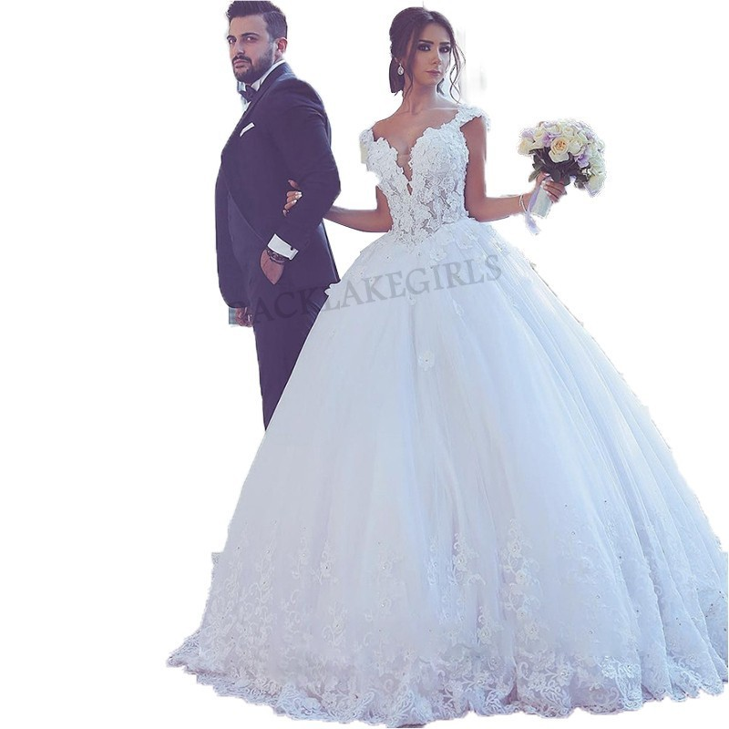 Robe De Mariage 3d Flowers Vintage Ball Gown Wedding Dresses 2018 Bridal  Gowns Beaded Plus Size ...