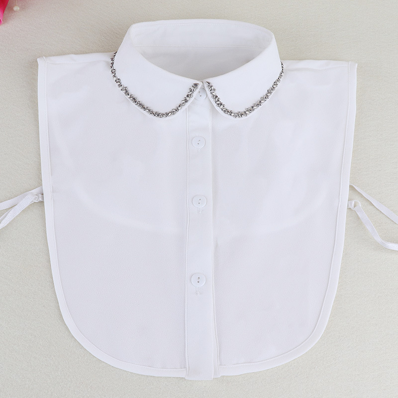 Korean Spring Nail Pearl Dickie Shirt Lead Sweater Decoration Chiffon Dickie Shirt Necktie False Collar Removable Women Clothes