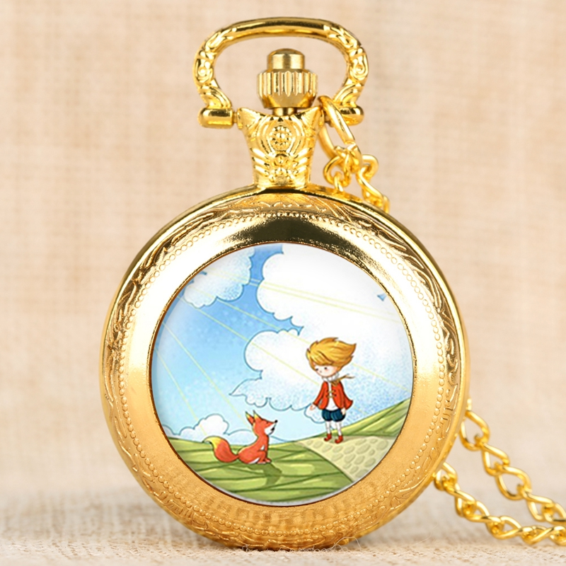 The Little Prince Movie Fairy Tale Quartz Pocket Watch Fox Pendant Fob Clock Watch Necklace Gifts For Children Boys Collectibles