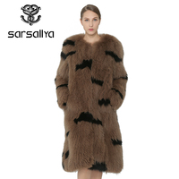 SARSALLYA Real Fur Coat Knitted Natural Raccoon Dog Fur Coat Women Fox Fur Coats Fashion Fox Vest Real Fur