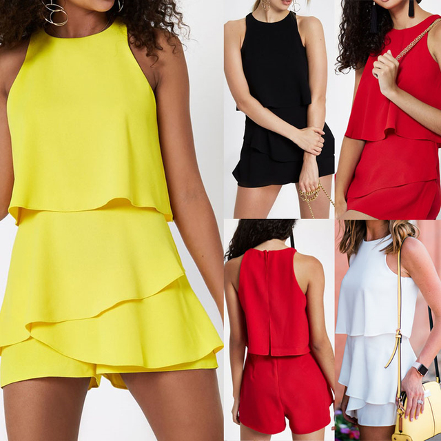 Ladies Summer Holiday Mini Playsuit Women Beach Jumpsuit Sleeveless 2019 Summer Wide Leg Pants Sexy Club Party Rompers 1