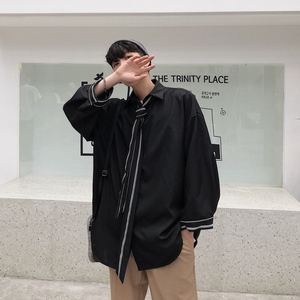 Image 2 - 2019 wiosna i modele letnie koreańska wersja trendu luźne casual młodzieżowe jednolity kolor koszula z długimi rękawami Camisa Masculina
