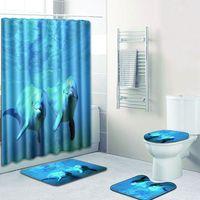 돌고래 디자인 샤워 커튼 세트 욕실 매트 세트와 폴리 에스터 욕실 커튼 180x180 cm|욕실 매트|홈 & 가든 -