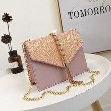 Small Sparkling Crossbody Bags For Women Leather Handbags Tassels Female Shoulder Bag Messenger Ladies Hand Sac