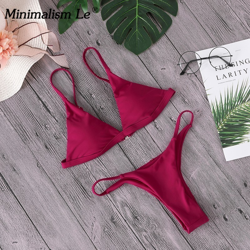 Sexy High Cut Bikini Set Women Solid Swimwear Micro Thong Swimsuit Bathing Suit Brazilian Bikinis Summer Beachwear Biquini 4