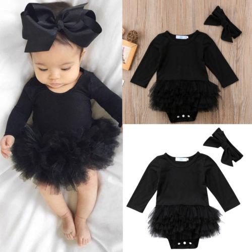 Hot Sell Toddler Newborn Baby Girl Black Long Sleeve Jumpsuit Bodysuit Tutu Dress Bowknot Headband Fashion Outfit Clothes Set