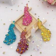 5pcs AB Resin Peacock Gem Flatback Rhinestone 30*65mm Wedding DIY 2 Hole Ornament Crafts W27 gem v diy page 2