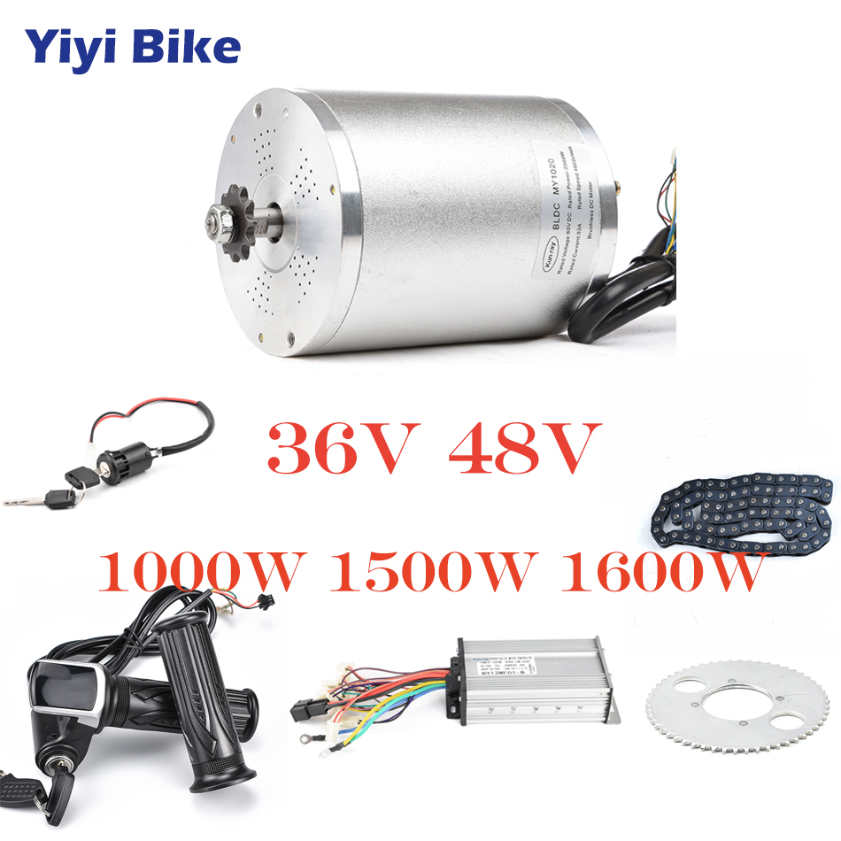 36V 48V Electric Bike Conversion Kit 1000W DC Brushless Motor 12mosfet bldc Controller With LCD Twist