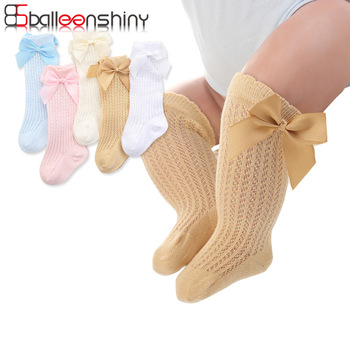 BalleenShiny Baby Girl Socks Toddler Baby Bow Cotton Mesh Breathable Socks Newborn Infant Non-slip Baby Girls Socks 0-3 years 1