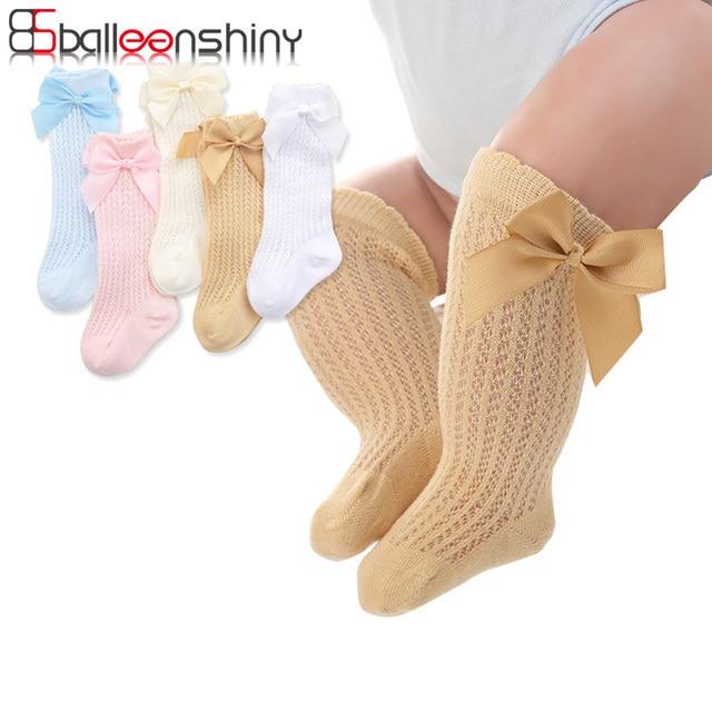 BalleenShiny Baby Girl Socks Toddler Baby Bow Cotton Mesh Breathable Socks Newborn Infant Non-slip Baby Girls Socks 0-3 years 1