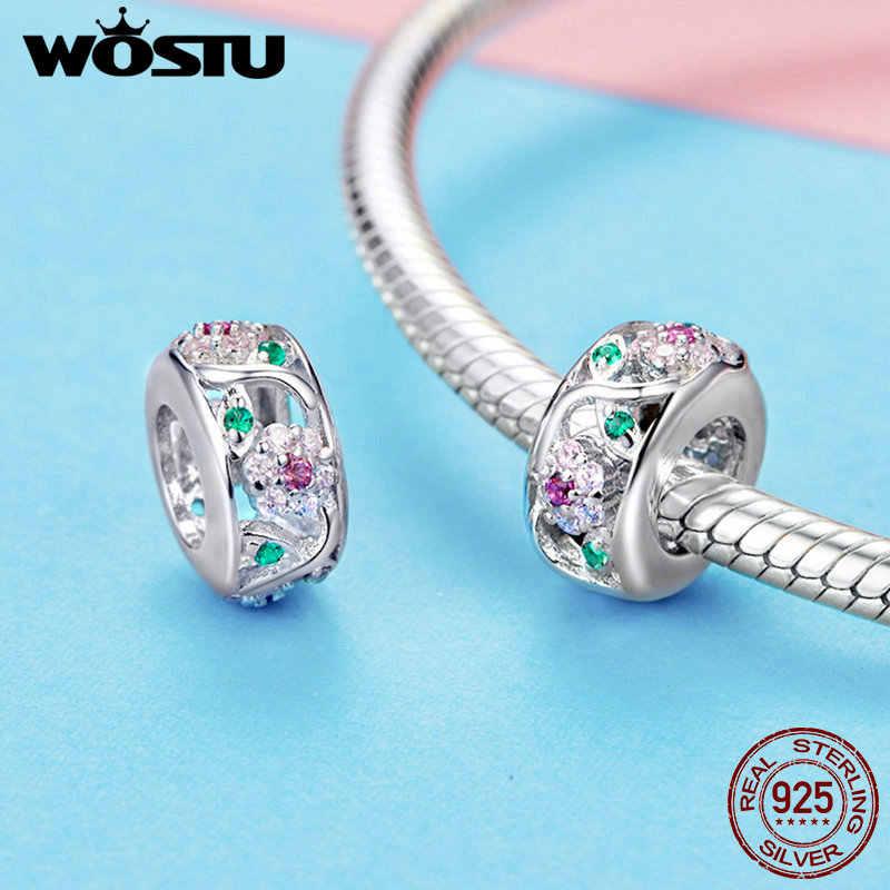 Wostu luxo 925 prata esterlina flor contas zircão encantos ajuste pulseira & pulseiras para festa feminina arco-íris jóias fazendo ctc039