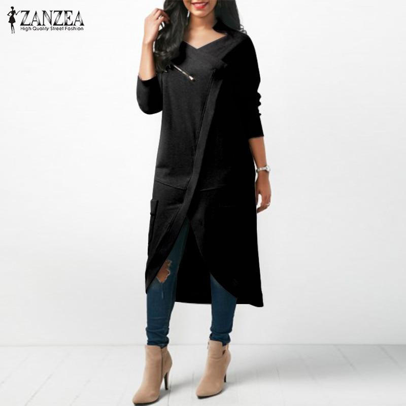ZANZEA Women Hoodies Sweatshirt Casual Solid Zipper Long Sleeve Pockets Hoodie Harajuku Sweatshirts Long Pullover Plus Size 5XL