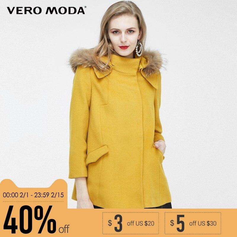 Vero Moda бренд шерсть простой коммутируют енота воротники пальто женщина | 315327041