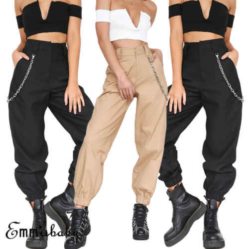 New Women's Patchwork Cargo Trousers Pants Solid Punk Loose Long Sports Pants With Chain