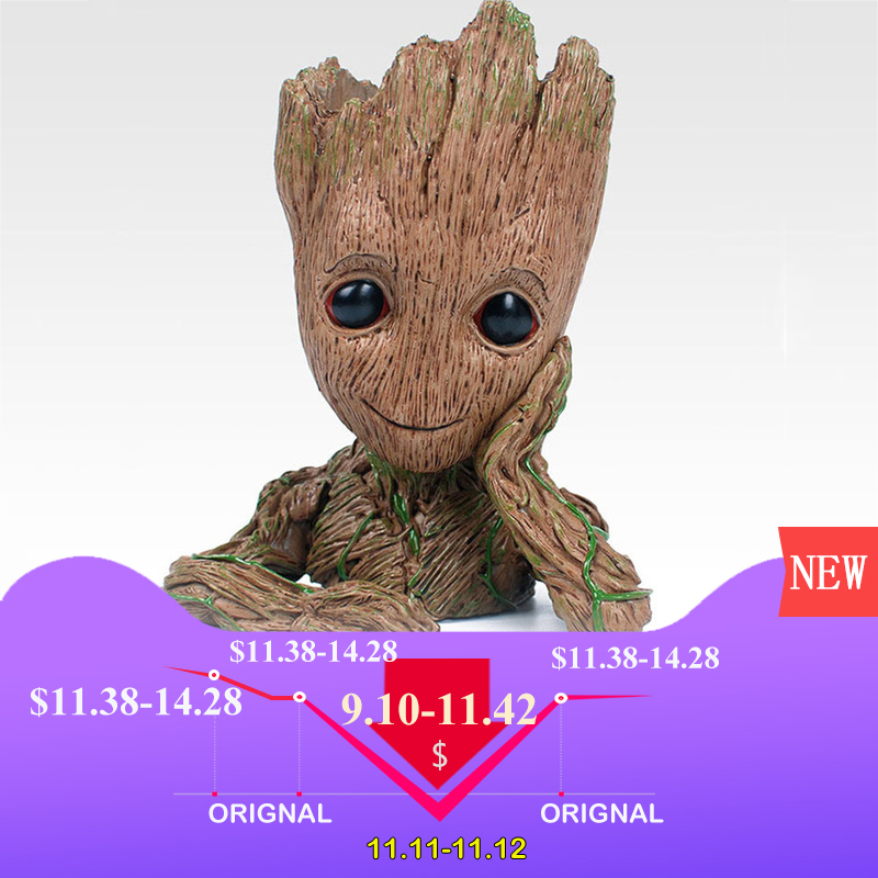 14CM baby groot Guardians Of The Galaxy Flowerpot Action Figures Cute Model Toy Pen Pot Best Christmas Gifts Kids Hobbies in stock brinquedos guardians of the galaxy mini cute model action and toy figures cartoon movies and tv p313