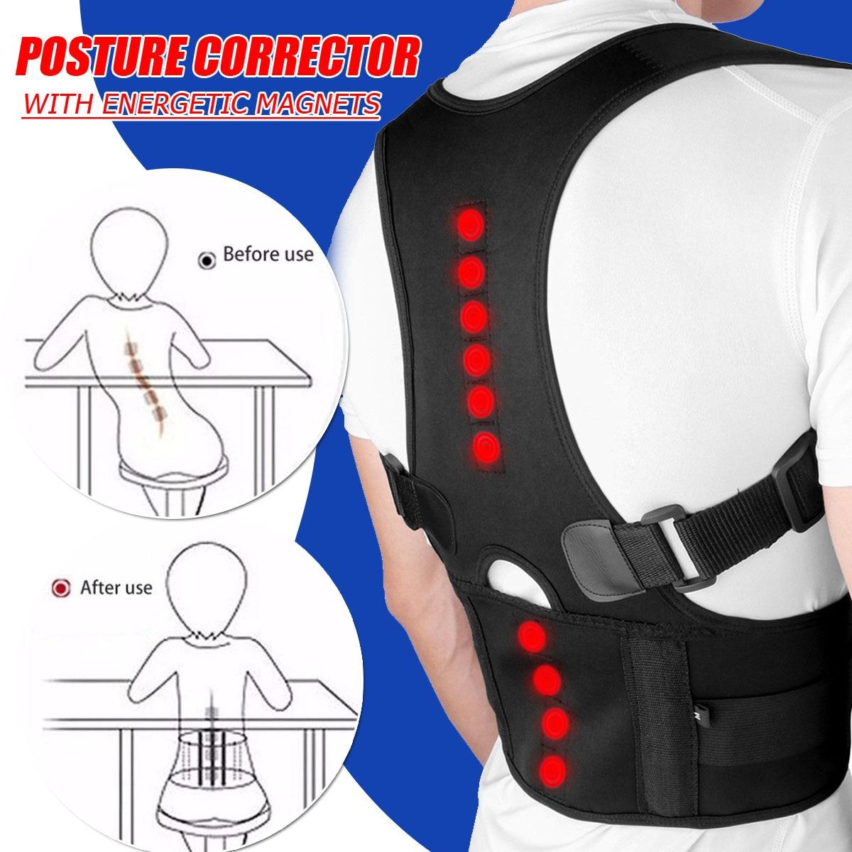 Men Women Magnetic Therapy Posture Corrector Sitting Posture Corrector Adjustable Back Support Belt Brace Shoulder Corrector