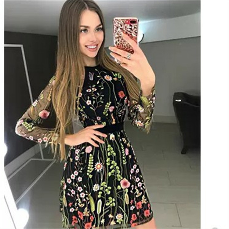 2019 Vestidos De FestaSexy Women Floral Embroidery Dress Sheer Mesh Summer Boho Mini A line Dress See through Black Dress in Dresses from Women 39 s Clothing