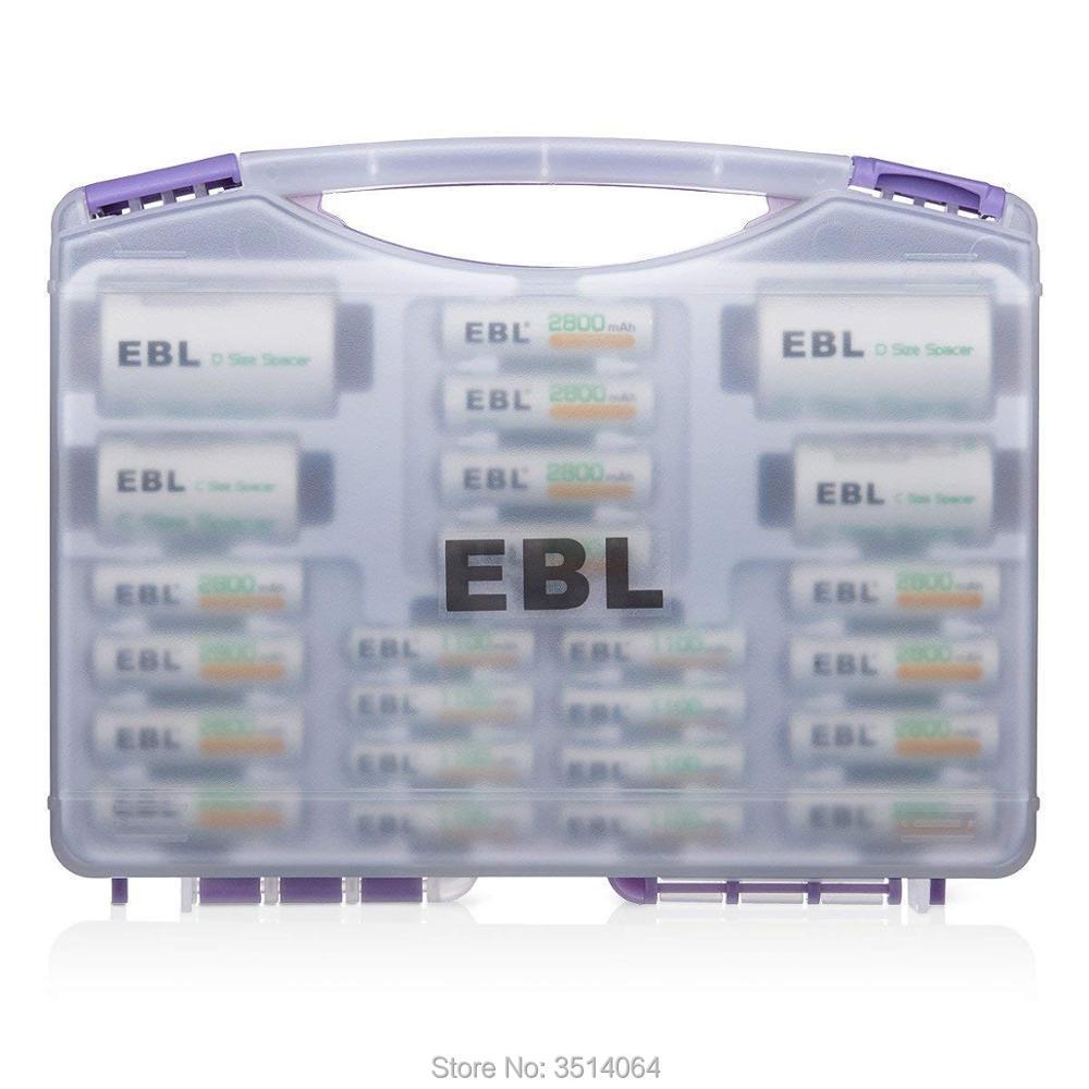 EBL famille batterie mallette de rangement organisateur EBL AA 2800 mAh 12 paquets + AAA 1100 mAh 8 paquets + 2 adaptateurs C et 2 adaptateurs D