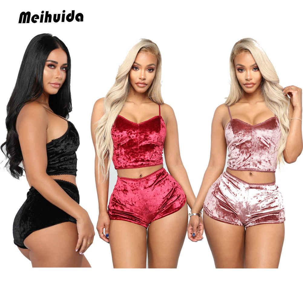 0b4746a122 Detail Feedback Questions about 2pcs Women Sexy Soft Nightwear Cami Crop Top +Shorts Velvet Pajamas Sets Sleepwear Underwear Bodycon Plus Size on ...