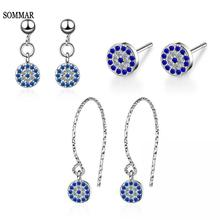 SOMMAR aliexpress 925 silver jewelry Lady korean earrings Devil's Evil Eye oorbellen women jewelry