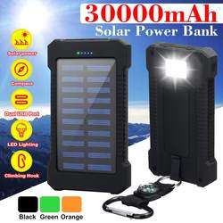 30000 mah banco de energia solar com luz led à prova dwaterproof água carregador solar portas carregador externo powerbank para xiaomi smartphone