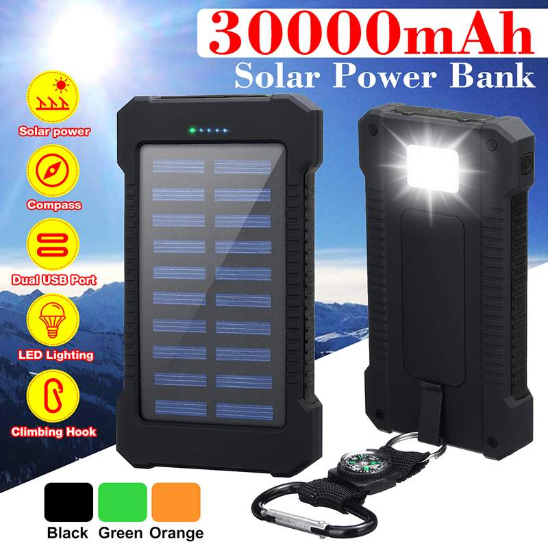 30000mAh Solar Power Bank With LED Light Waterproof Solar Charger Ports External Charger Powerbank For Xiaomi Smartphone