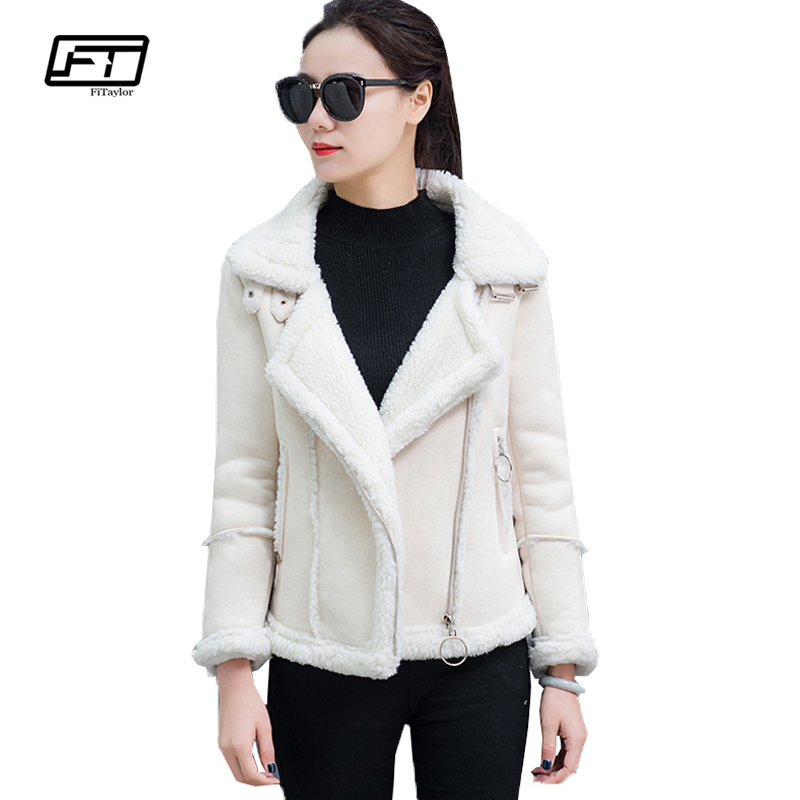 Fitaylor Autumn Winter   Suede     Leather   Jacket Women Lamb Wool Short Motorcycle Outwear Lady Thick Warm Black Pink Coat