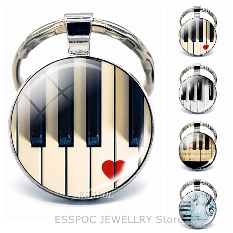 Piano Keychain Pendant Music Jewelry Key Rings Musical Instruments Accessories Pianoforte Key Holder Men Keychains For Women