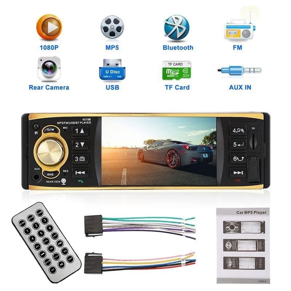 4.1 pouces 1 un autoradio Din Audio stéréo AUX FM Radio Station Bluetooth Auto Radio sans caméra de recul télécommande