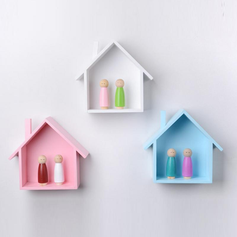 Petite House Shape Wall Shelf Display Hanging Shelving Wall Mounted Shelf Wooden House Shaped Children's Room Bedroom Decoration
