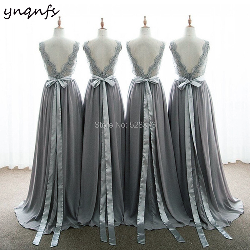 YNQNFS B27 Custom Made New Chiffon Backless Long Bow Belt V Neck Lace Appliques Long Party Gown Gray   Bridesmaid     Dresses   2019