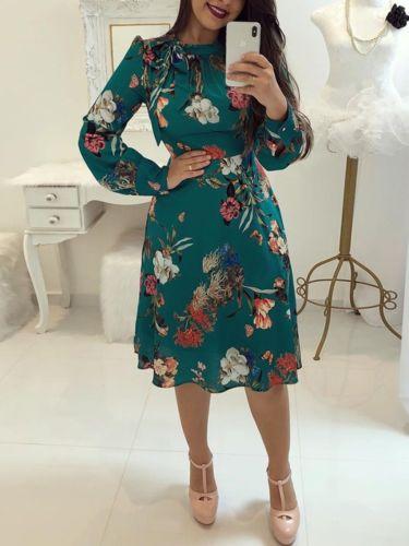 knee length casual chiffon dress