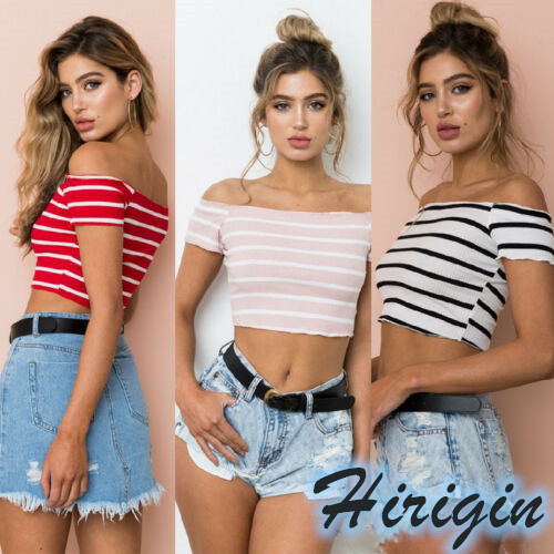 Summer Sexy Tank Tops Women Casual Short Sleeve Off Shoulder Tank Tops Sexy Striped Crop Tops T Shirt in Tank Tops from Women 39 s Clothing