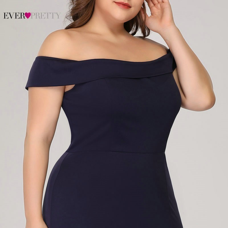 Image 5 - Plus Size Mermaid Prom Dresses Ever Pretty High Split Boat Neck Off the Shoulder Sexy Navy Blue Long Prom Dresses for Party 2019-in Prom Dresses from Weddings & Events