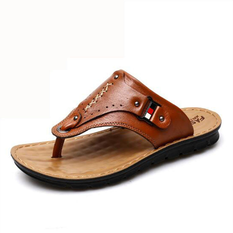 Hot 2019 Summer New Men's Casual Sandals Outdoor Men's Slippers Classic Beach Solid Shoes Genuine Leather Men's Flip Flops