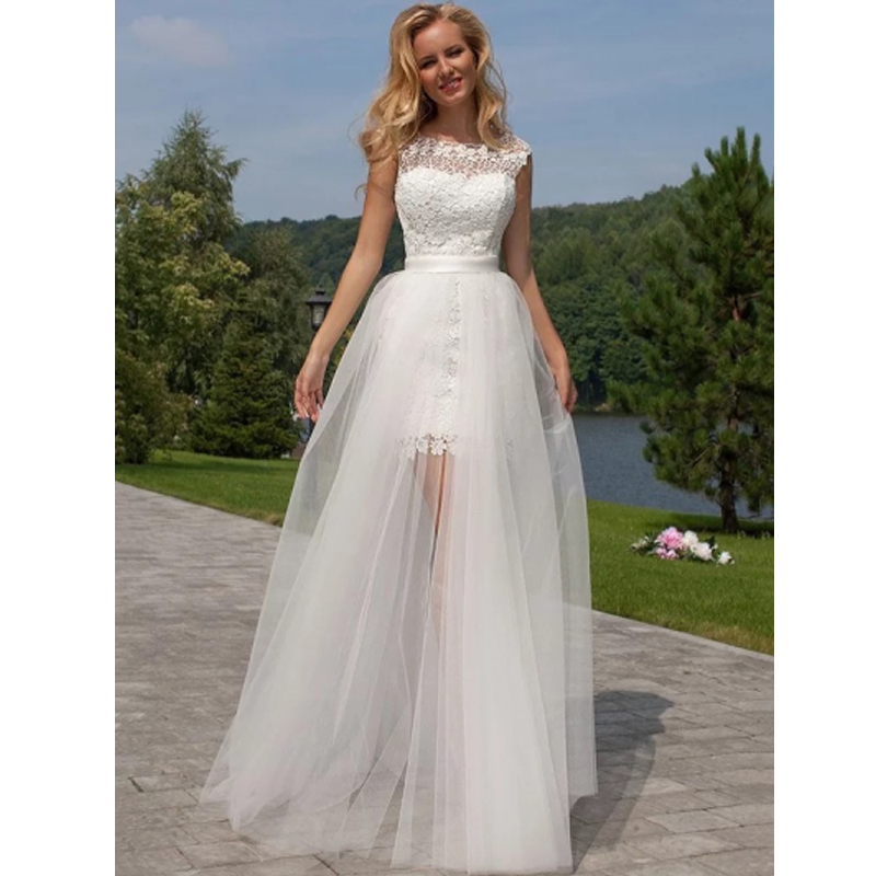 Short Lace Wedding Dress 2019 Detachable Train Bride Dresses Elegant  Summer Bridal Gowns