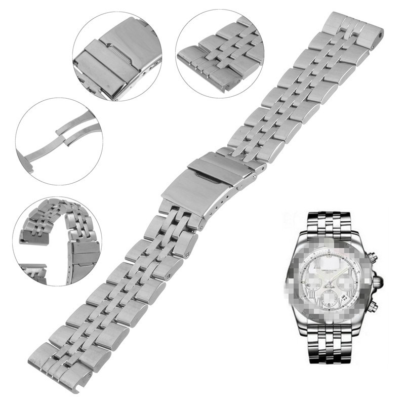 Classical Silver Replacement Watchband Wrist <font><b>Strap</b></font> Bracelet Belt With Magnet Clasp Stainess Steel Buckle For <font><b>Breitling</b></font> Watch image