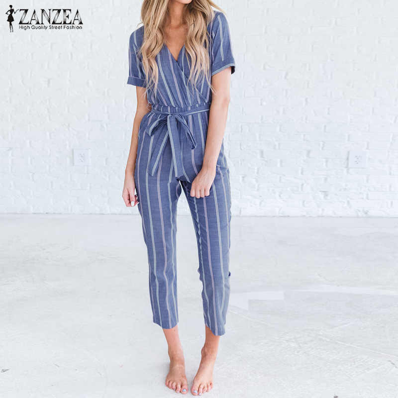 d735290cd0 2019 ZANZEA Women Striped Jumpsuits Summer V Neck Short Sleeve Rompers  Casual Elegant Office Work Playsuits