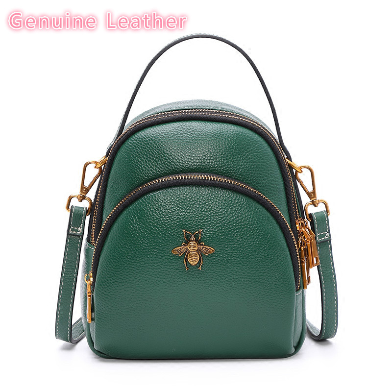 Multi-usable Genuine Leather Female Bag Small Backpack School Bags Teenage Mini Backpack