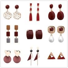 Korea Earrings Geometric Earring Asymmetry Irregular Round Drop Glaze Hollow Stud Earrings For Women Earrings Beach Jewelry Boho недорого