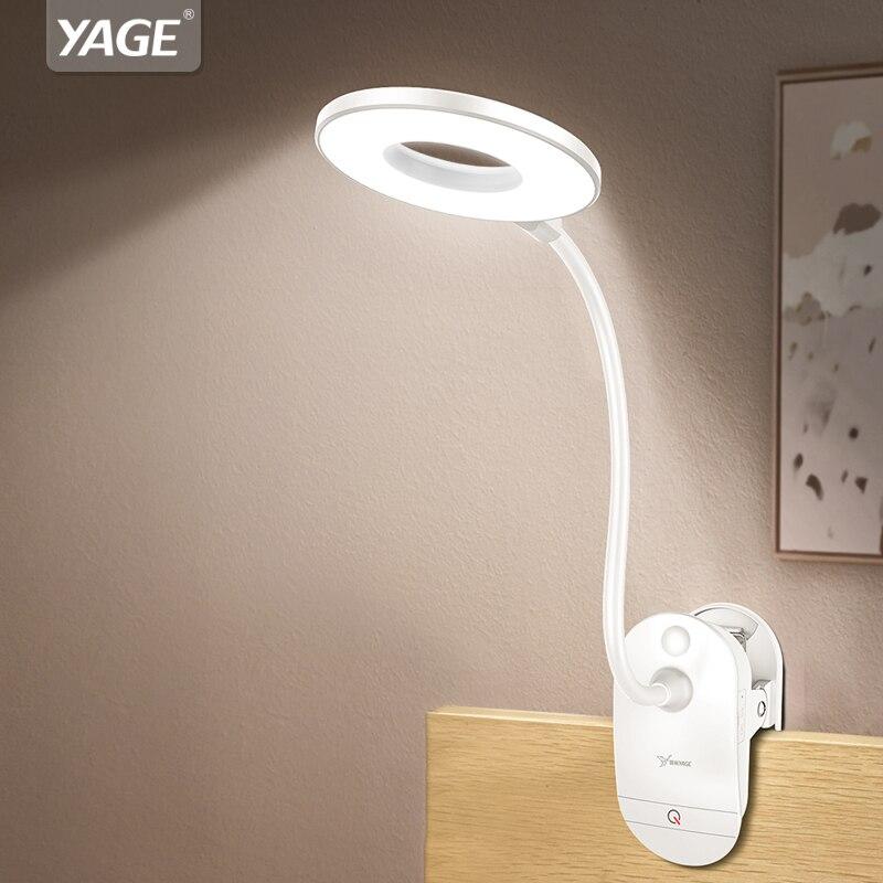 YAGE 18650 LED Toque On/off Switch 3 Modos de Leitura Proteção para Os Olhos Lâmpada de Mesa Clipe 7000 k Dimmer Recarregável USB Levou Candeeiros De Mesa