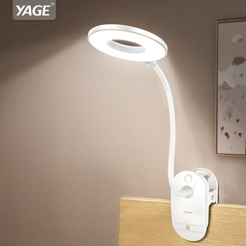 YAGE 18650 LED Touch On/interruptor 3 modos Clip lámpara de escritorio 7000 K protección de ojo lectura regulador recargable USB Led lámparas de mesa