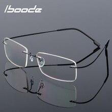 Rimless Glasses Frame Titanium-Alloy Ultra-Light Reading Iboode Women Metal Unisex