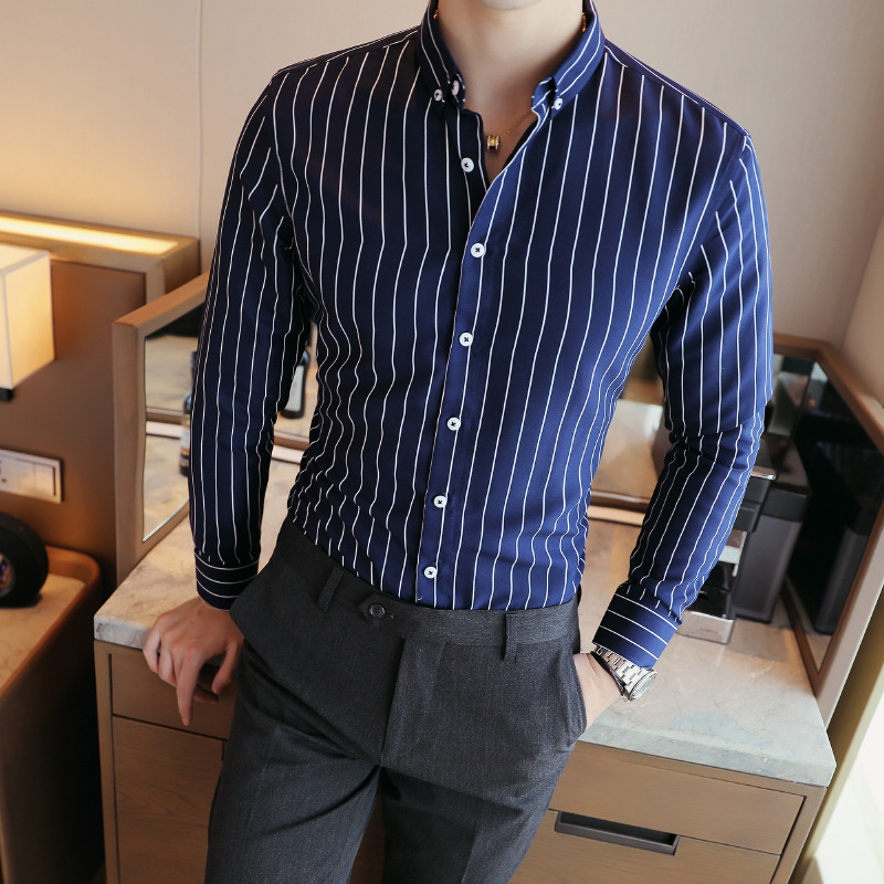 Shirts Striped-Dress Vertical Long-Sleeve Contrast Smart Button-Down Men's Casual Cotton