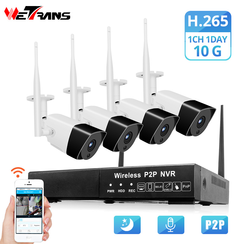 Wetrans Security Camera System 1080P H.265 Audio HD CCTV Wifi Camera NVR Surveillance Kit Wireless Outdoor Waterproof 4CH 2CH