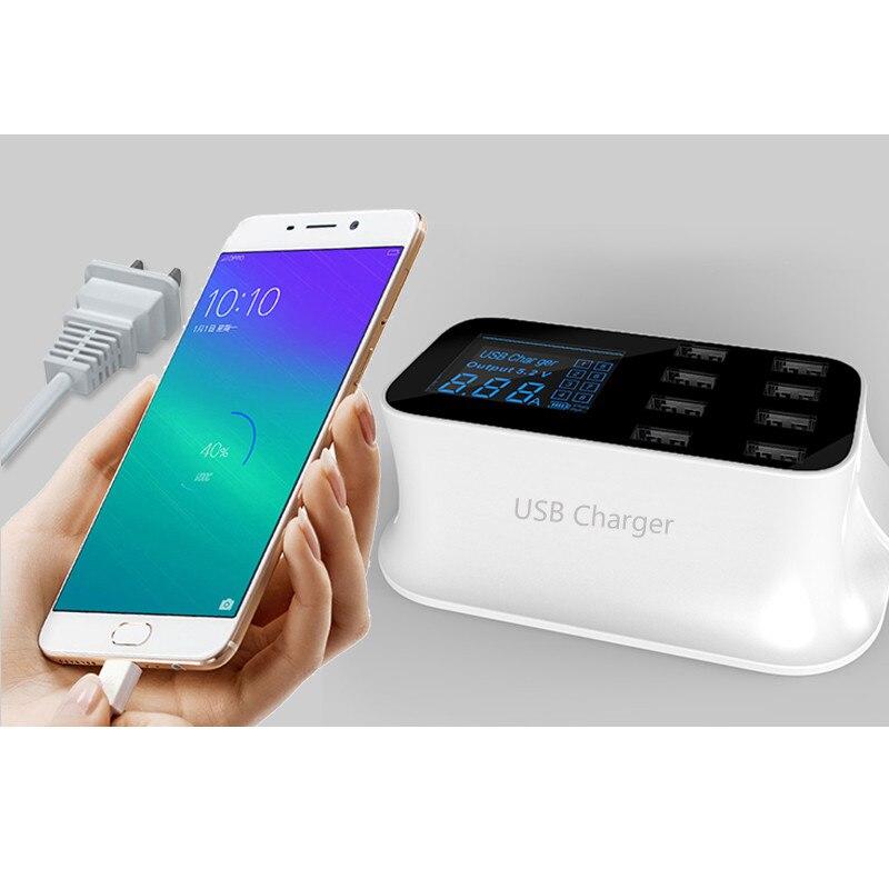 5V 2.4A с ЖК цифровым дисплеем, 8 портовое USB зарядное устройство, быстрая зарядка, умная зарядная станция, адаптер для смартфона, планшета, ПК
