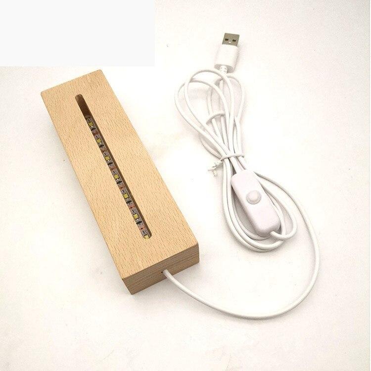 Lampe de nuit moderne acrylique, base de produits en bois interrupteur de câble USB