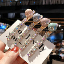 Fashion Women Lady Rhinestone Pearl Hair Pin Hairpin Barrette Clip Accessories Headwear Gray Green Pink Purple(China)